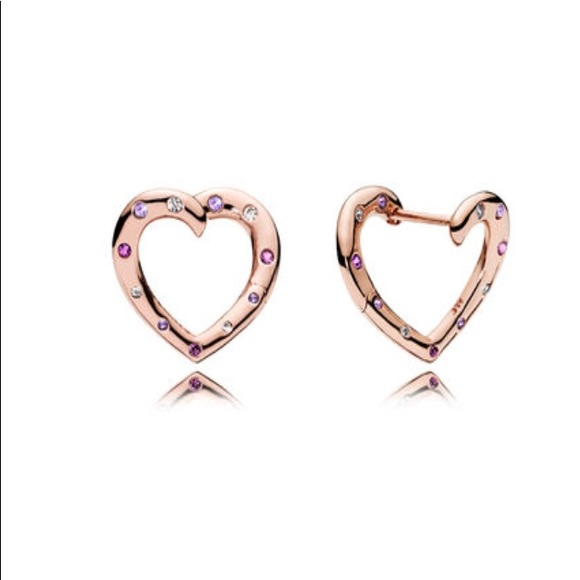 171c6ef8d7856 New Pandora Bright Hearts Rose Gold Earrings NWT